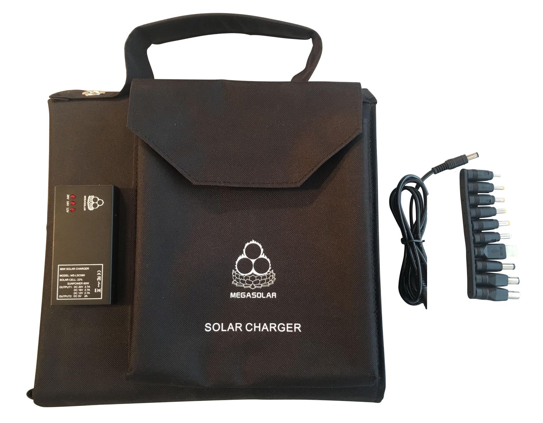 户外笔记本电脑充电1 - 60W折叠式太阳能充电器