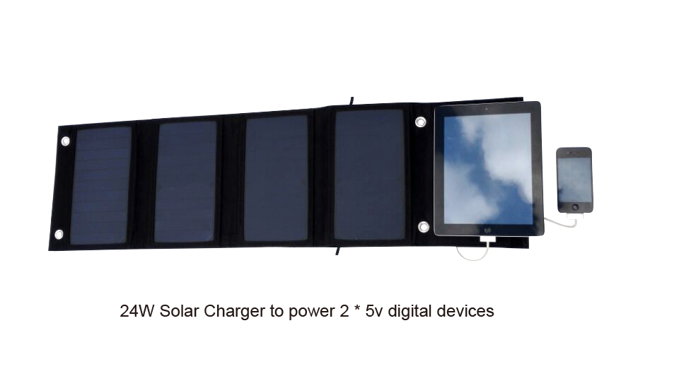 Outdoor smartphone charging 1 - 24W Solar Charger